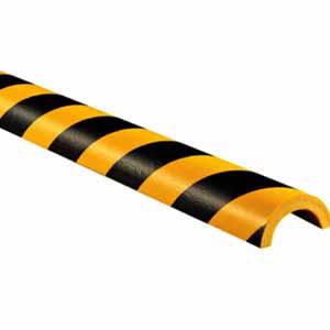 警示防撞条(F款)-耐寒PU材质,黄黑橘皮纹表面,弧型,外径80mm,内径55mm,长600mm,11415