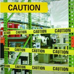 警示隔离带(CAUTION)-无粘性PE材质,70mm×130m,11109