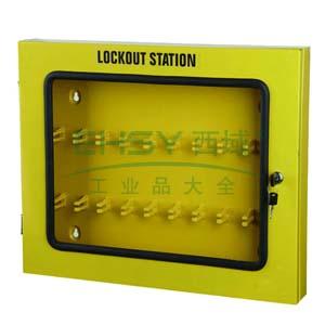 锁具管理箱(空箱)-黄色粉末喷涂钢板,透明箱门可上锁,560×460×70mm,14738