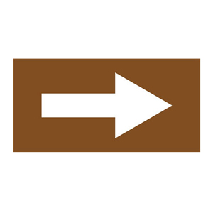 安赛瑞 流向箭头,自粘性乙烯表面覆膜,棕底白箭头,100×200mm,15431