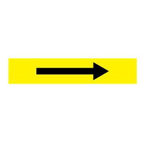 安赛瑞 流向箭头,自粘性乙烯表面覆膜,黄底黑箭头,100×500mm,15453