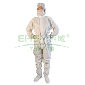 防静电连体服,四联套(连帽子,衣服,裤子,脚套)L码 白色