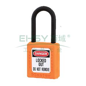 Master Lock 橙色XENOY工程塑料安全锁,塑料锁钩、绝缘、防磁、防电火花,406MCNORJ