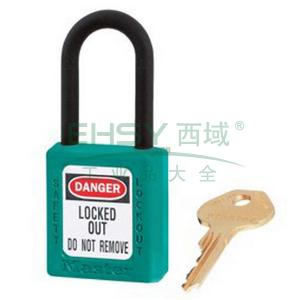 Master Lock 青色XENOY工程塑料安全锁,塑料锁钩、绝缘、防磁、防电火花,406MCNTEAL