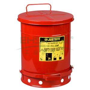 JUSTRITE 废物桶,10加仑油类废物桶,红色,09300
