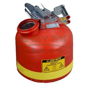 JUSTRITE 聚乙烯罐,带不锈钢钢件聚乙烯罐,8L,红色,14762Z