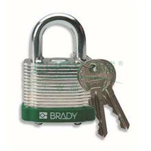 "BRADY钢锁,0.75"",1.9cm,锁钩,锁芯互异,绿色,99508"