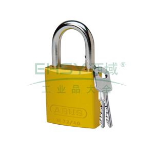 "BRADY铝锁,1"",2.5cm,锁钩,锁芯互异,黄色,99611"