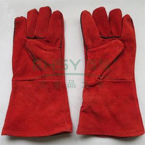 加长加厚牛皮电焊手套,红色