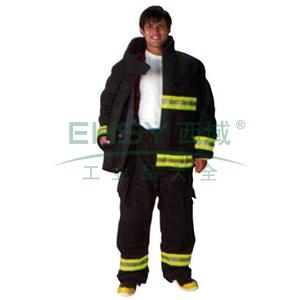 雷克兰  CEOSX系列消防战斗服全套产品:上衣、裤子、连接背带、红色尼龙产品包,尺码:M