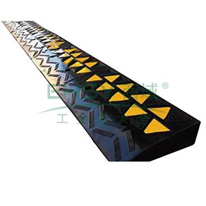 低位路沿坡-优质原生橡胶,表面覆黄色反光材料,600×300×100mm,11036