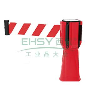 路锥伸缩隔离带-底部喇叭口形状,红白相间尼龙布伸缩带,长可拓展至2.8m,11212