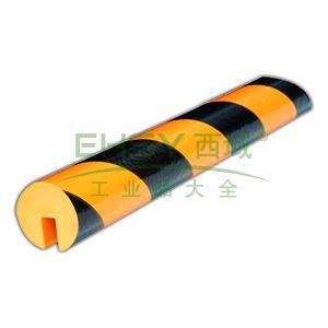 警示防撞条(D款)-耐寒PU材质,黄黑橘皮纹表面,槽型,长1000mm,11413