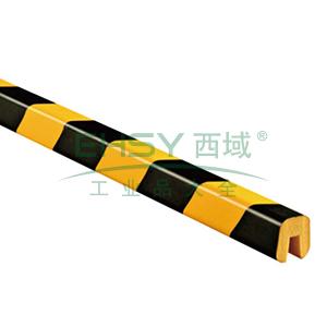 警示防撞条(E款)-耐寒PU材质,黄黑橘皮纹表面,槽型,长1000mm,11414