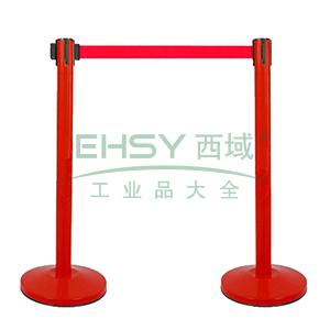 伸缩带隔离柱(红色)-铁喷塑烤漆,铸铁配重盘,带长2m,高910mm,立柱Φ63mm,底盘Φ320mm,14496