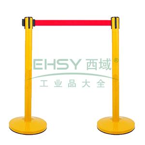 伸缩带隔离柱(黄色)-铁喷塑烤漆,铸铁配重盘,带长2m,高910mm,立柱Φ63mm,底盘Φ320mm,14497