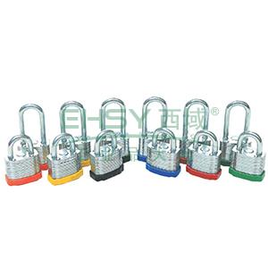 长梁钢制千层安全挂锁(绿)-钢制锁体及锁梁,绿色,锁梁Φ6mm,高48mm,14715