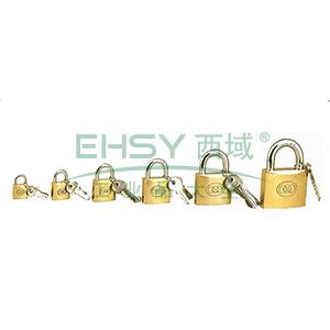 黄铜挂锁-黄铜锁体,锁体38×35×10.5mm,锁梁Φ6.3mm,锁梁宽32.5mm,总高60.5mm,14754