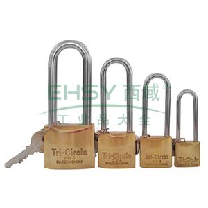 长梁黄铜挂锁-黄铜锁体,锁体38×34mm,锁梁Φ6.3mm,锁梁内宽20.7mm,总高108.3mm,14760