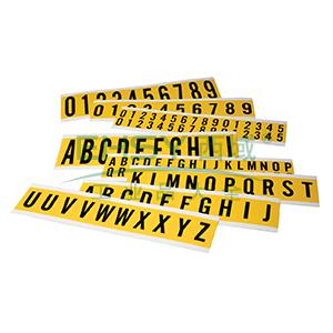 """3"""" 数字标识-字高3'',黄底黑字,自粘性乙烯材料,共30卡,包含0-9各3卡,6片/卡,34402"""