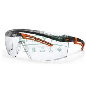 UVEX 9064185透明镜片,橙黑镜框防护眼睛