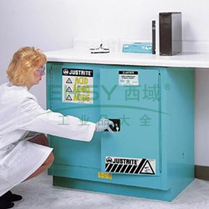 JUSTRITE/杰斯瑞特 蓝色弱腐蚀性液体存储柜,FM认证,22加仑/83升,双门/手动,台下式,8923021