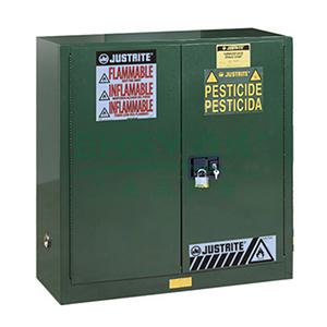 JUSTRITE/杰斯瑞特 绿色农药杀虫剂存储柜,FM认证,30加仑/114升,双门/自动,8930241