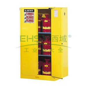 JUSTRITE/杰斯瑞特 黄色易燃液体存储柜,FM认证,60加仑/227升,双门/自动,8960201