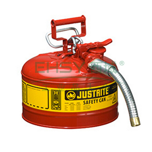 "JUSTRITE/杰斯瑞特 Ⅱ型钢制安全罐,2.5加仑/9.5升,带1""金属软管,7225130Z"