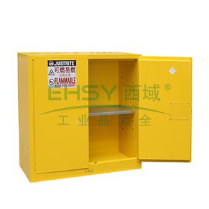 JUSTRITE/杰斯瑞特 黄色易燃液体存储柜(不带通风口),FM认证,30加仑/114升,双门/手动,8530001