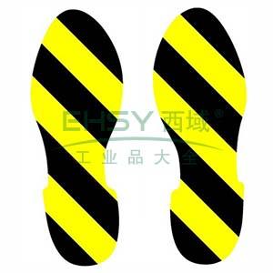5S管理地贴(脚印)-超强耐磨地贴材料,黄/黑,280×100mm,1对/包,14425