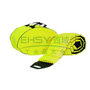便携式减速带(自卷式)-高强度塑胶材质,黄色,含收纳包,展开规格3000×230×40mm,14463