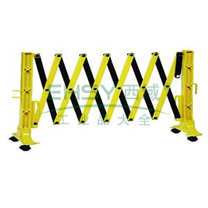 移动式伸缩围栏-高强度工程塑料,黄黑条纹,自带滚轮,高950mm,长范围450-3500mm,14472
