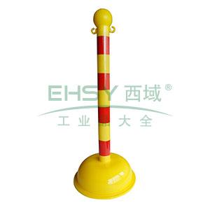 警示隔离柱(反光款)-高强度工程塑料材质,黄红反光条纹,底座Φ40cm,高104cm,14114