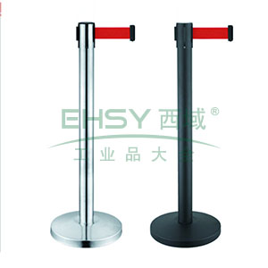 伸缩带隔离柱(不锈钢原色)-镜面不锈钢,铸铁配重盘,带长2m,高910mm,立柱Φ63mm,底盘Φ320mm,14494