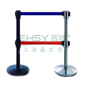 双层伸缩带隔离柱(不锈钢原色)-镜面不锈钢,铸铁配重盘,带长3m,高1000mm,立柱Φ63mm,底盘Φ350mm,14503