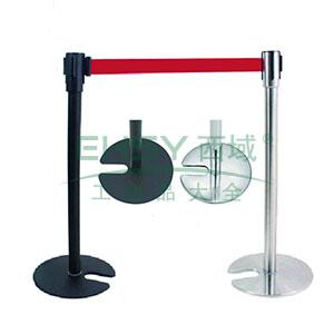 U型底座伸缩带隔离柱(不锈钢原色)-镜面不锈钢,铸铁配重盘,带长2m,高890mm,立柱Φ63mm,底盘Φ360mm,14505