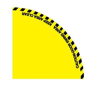 开门半径警示地贴-超强耐磨地贴材料,边长900mm,14327