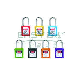 工程塑料安全挂锁(绿)-高强度工程塑料锁体,钢制锁梁,绿色,锁梁Φ6mm,高38mm,14660
