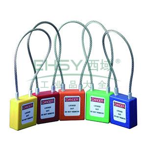 钢缆线安全挂锁(蓝)-高强度工程塑料锁体,钢缆线锁梁,蓝色,钢缆线Φ3.2mm×150mm,14687