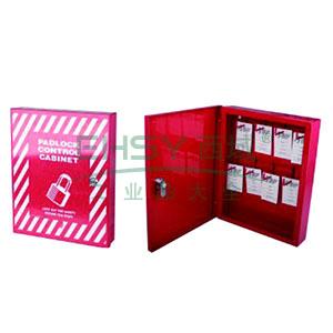 锁具管理箱(套装)-红色粉末喷涂钢板,箱门可上锁,包含8把长梁钢制安全挂锁,8个耐用聚酯吊牌,260×322×55mm,14732