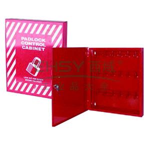 锁具管理箱(套装)-红色粉末喷涂钢板,箱门可上锁,包含18把工程塑料安全挂锁,18个耐用聚酯吊牌,400×465×55mm,14734