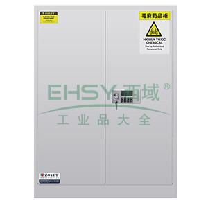 众御,毒麻药品安全存储柜-灰色45加仑,双门手动门,带密码锁ZYC0045W