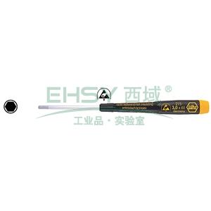 威汉防静电内六角螺丝刀,3.0×60mm,07648