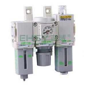 CKD三联件,过滤器+调压阀+油雾器,无压力表,C1000-8-W