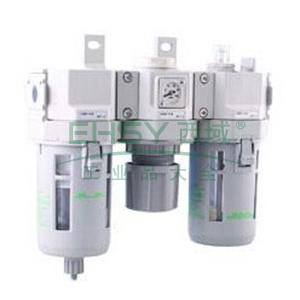 CKD三联件,过滤器+调压阀+油雾器,无压力表,C3000-8-W