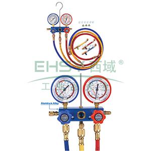 铜架带视窗带球阀表组专用于R410A新冷媒表 (球阀是分开的),格美,CM-560-G-R410-BV