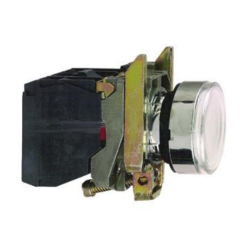 施耐德 带灯金属按钮,XB4BW31B5 白色 平头 1NO+1NC 24V(ZB4BW0B15+ZB4BW313)