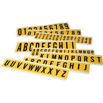 """2"""" 数字标识-字高2'',黄底黑字,自粘性乙烯材料,共30卡,包含0-9各3卡,10片/卡,34401"""