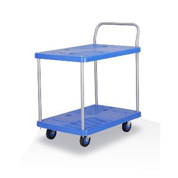 全静音双层单扶手车板式手推车,铁支架轮,150KG